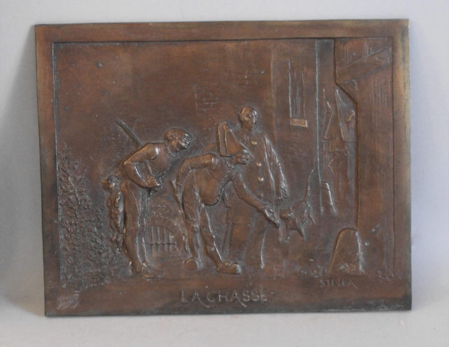 French  bronze plaque Lachasse by Stella