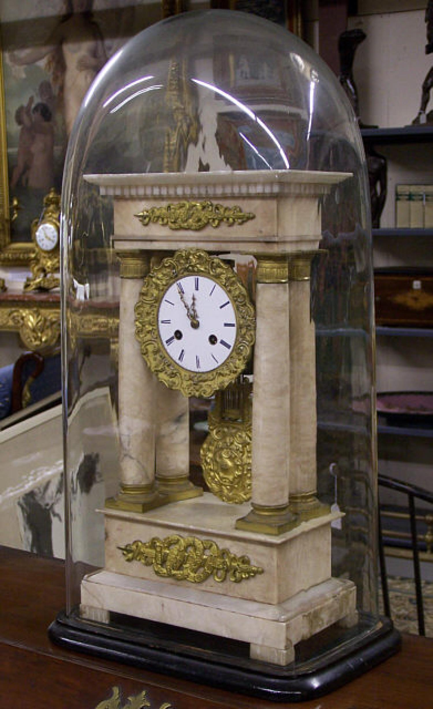 French Empire white marble column clock c1840