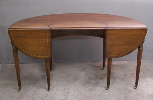 Mahogany demi lune writing desk with drop leaves c1940