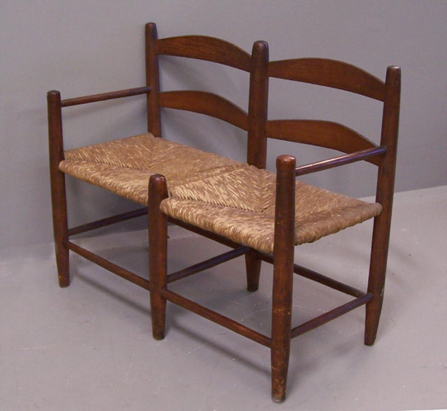 Early American ladder back carriage seat c1800