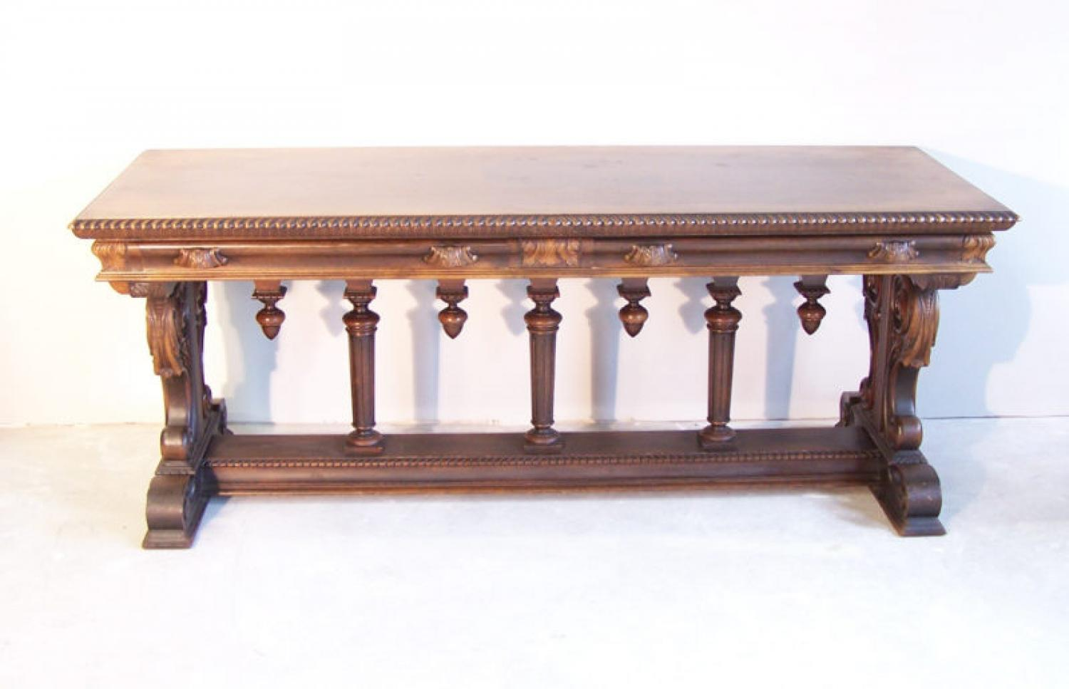 Continental trestle base library table or desk c1900