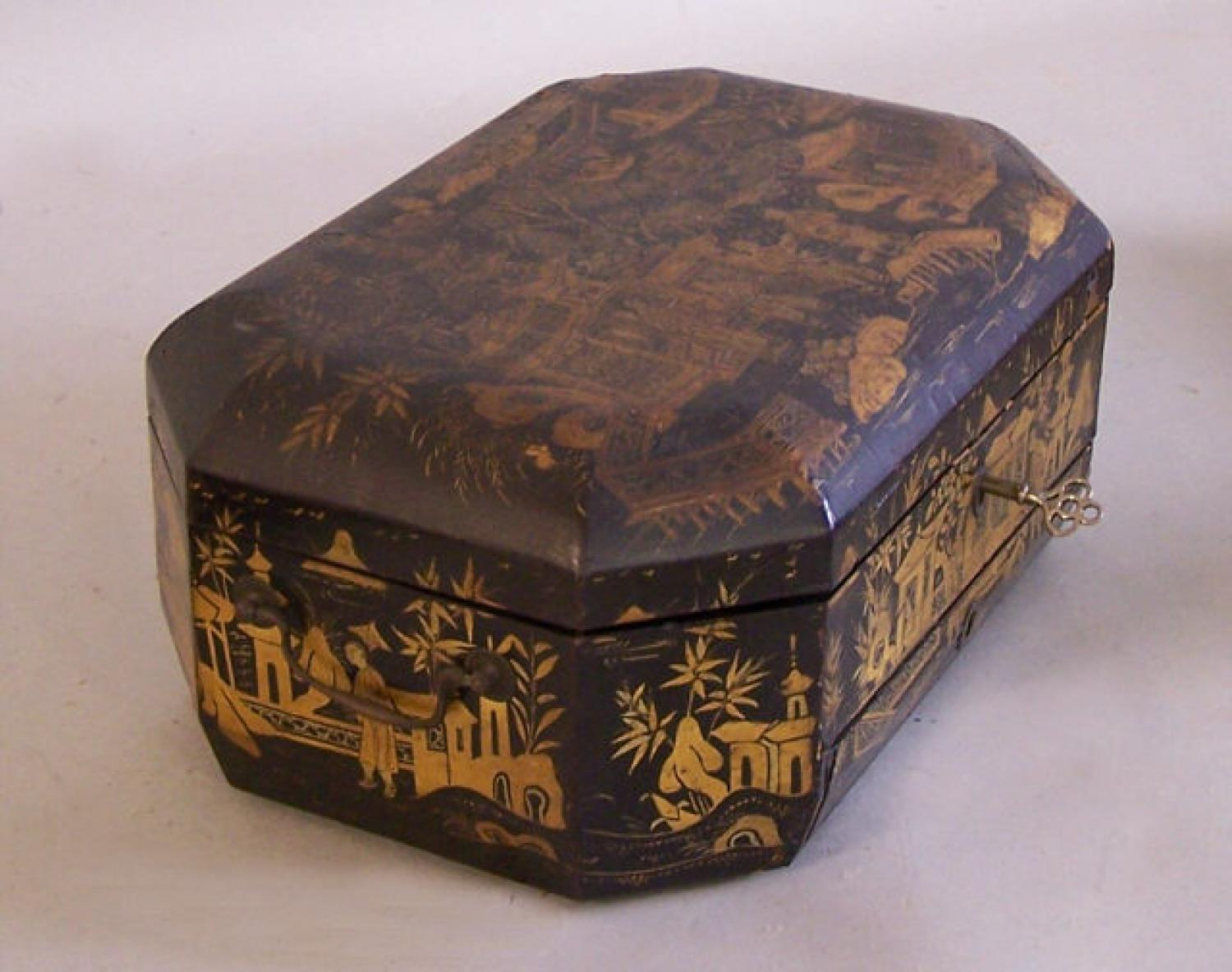 China Trade lacquer sewing box with mirror and ivory inserts c1800