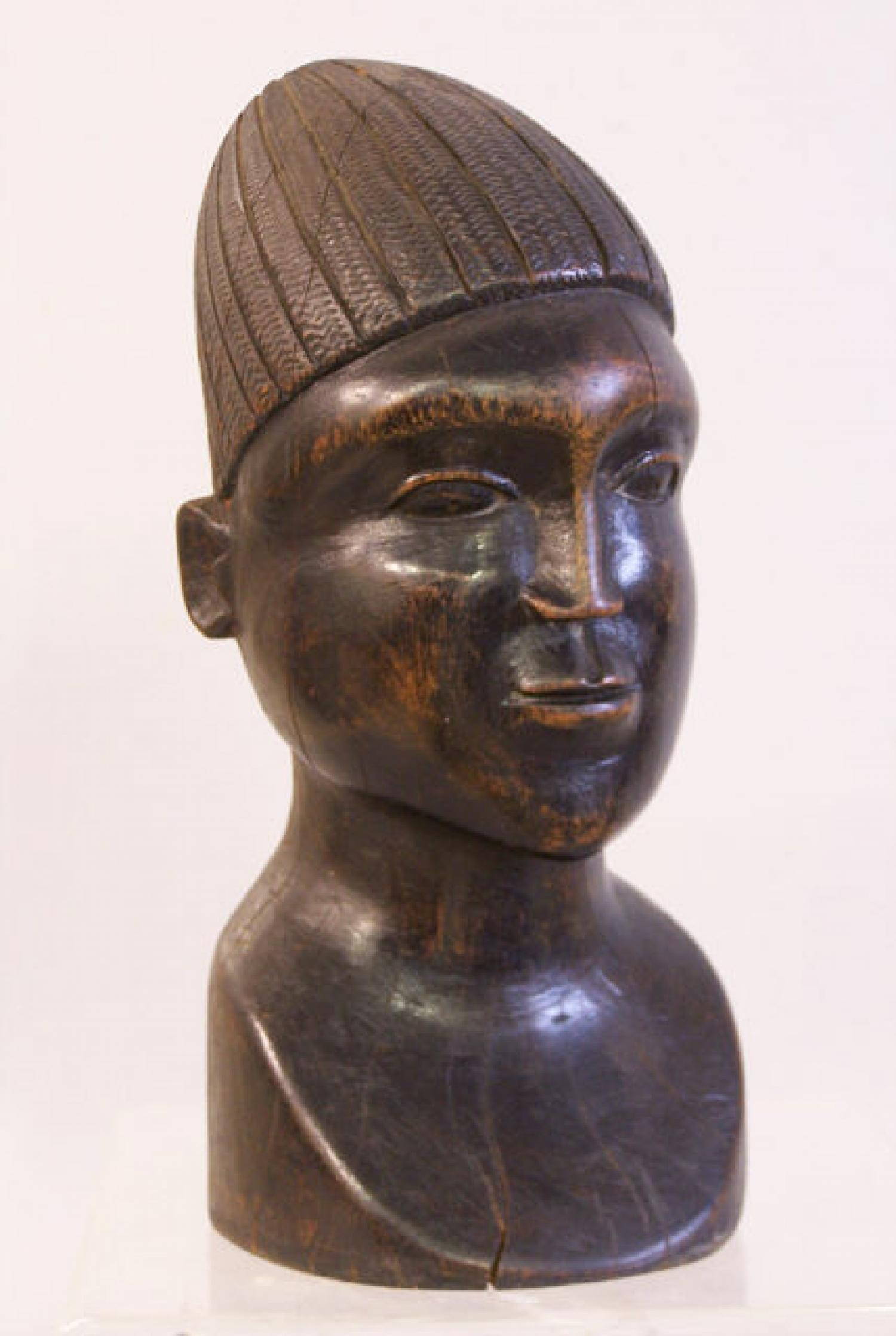 African carved wood head sculpture c