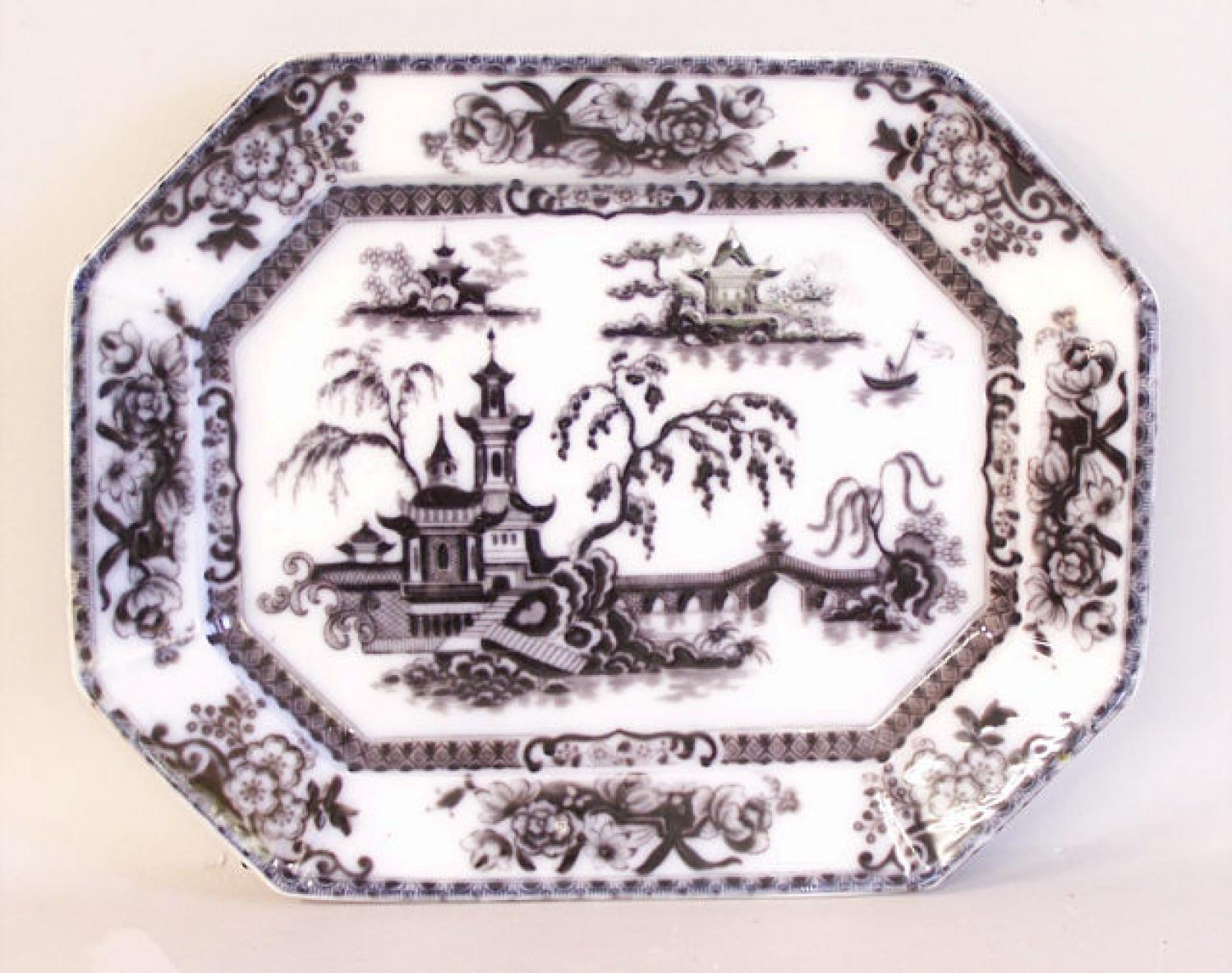 English Ironstone Pelew flow black platter E Chanllinor c1850