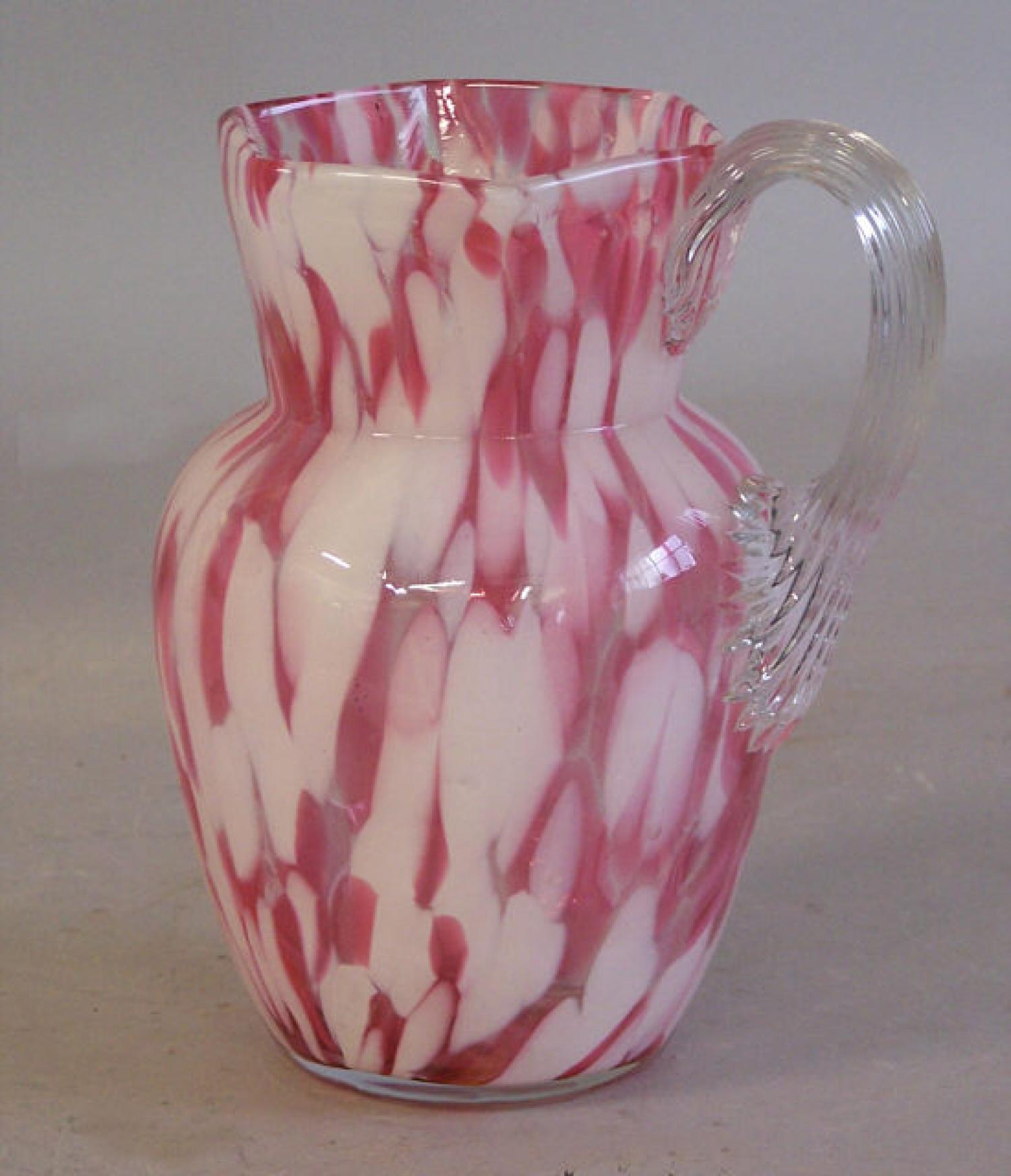 Spatterware blown glass pitcher c1880