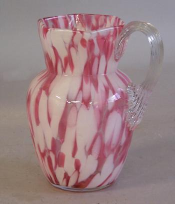 Image of Spatterware blown glass pitcher c1880