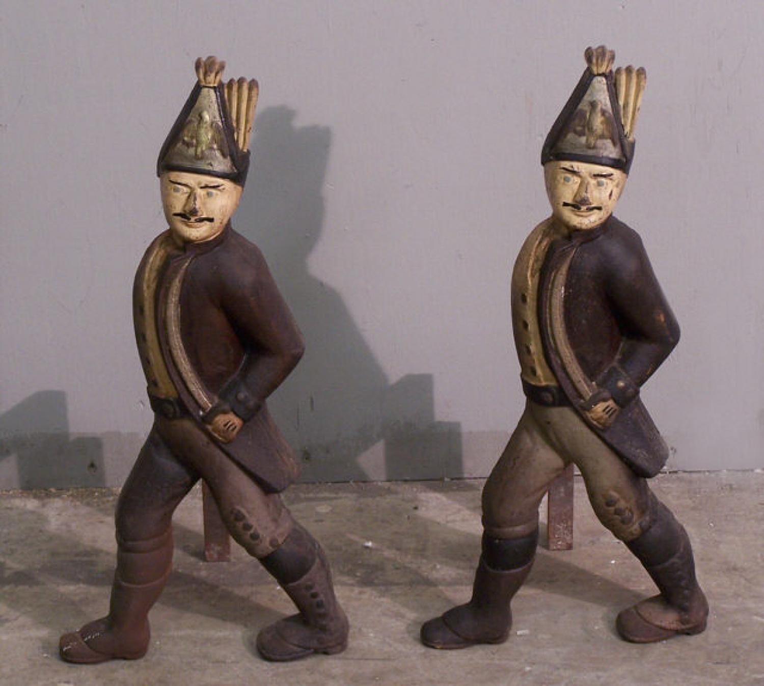 Pair of 19th c Hessian soldier andirons