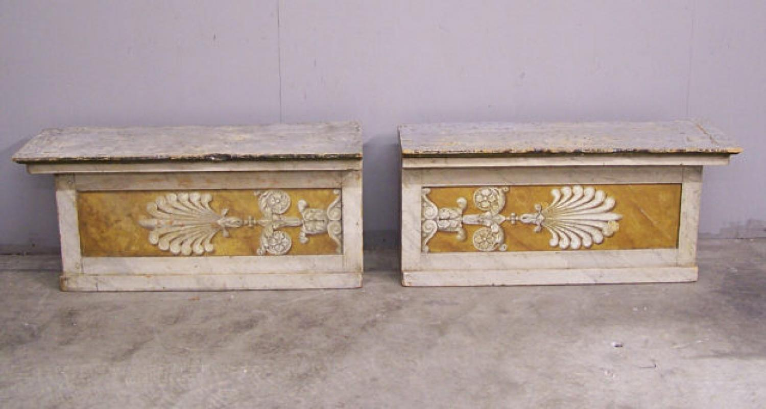 Pair Italian painted architectural benches