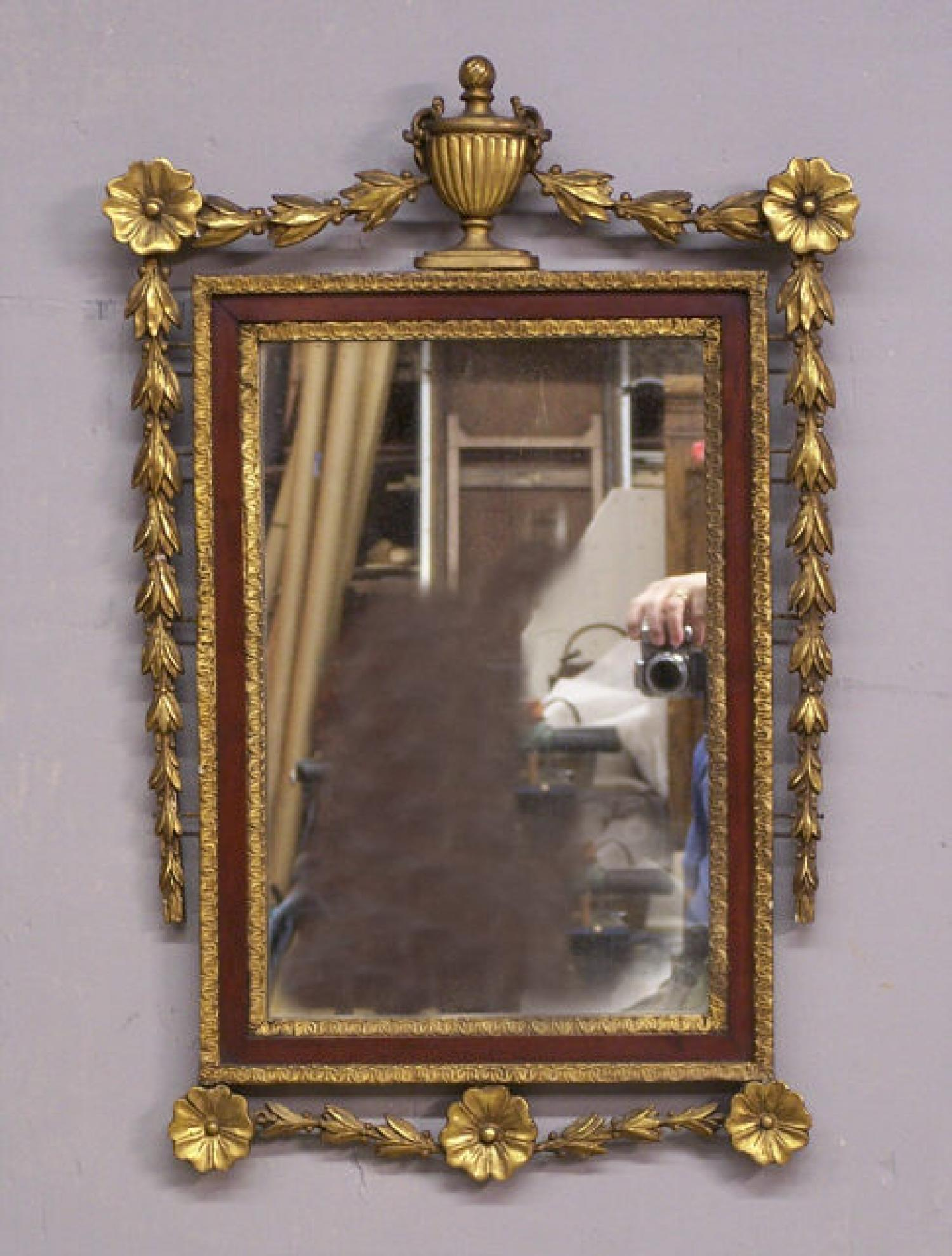 Mirror with urn top and floral swags c1900