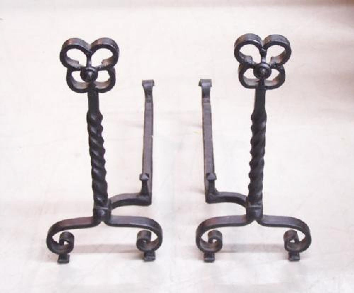 Arts Crafts twist iron andirons c 1900