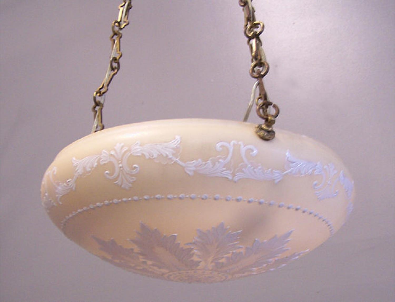 French enamelled pendant light c1920