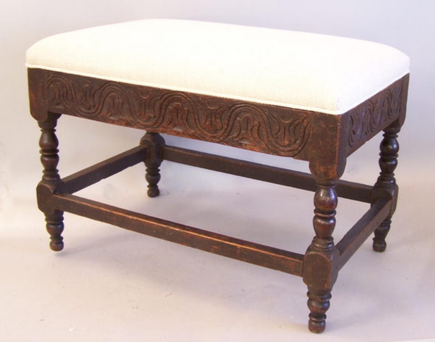 18th century English carved oak bench