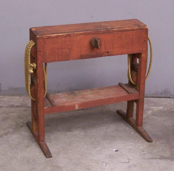 Early American Primitive Cheese Press C1800 Original Red Paint