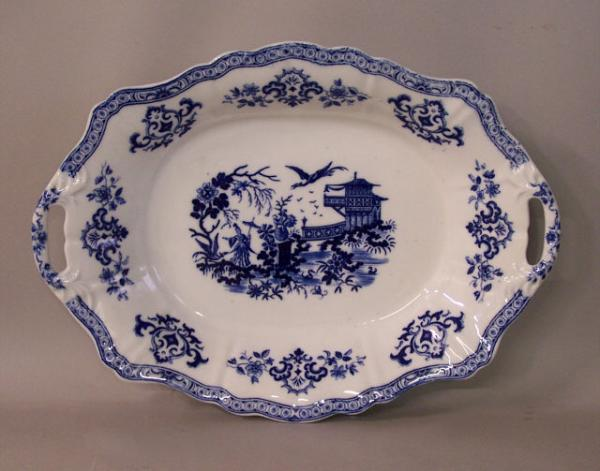 English Blue And White Porcelain Serving Platter With