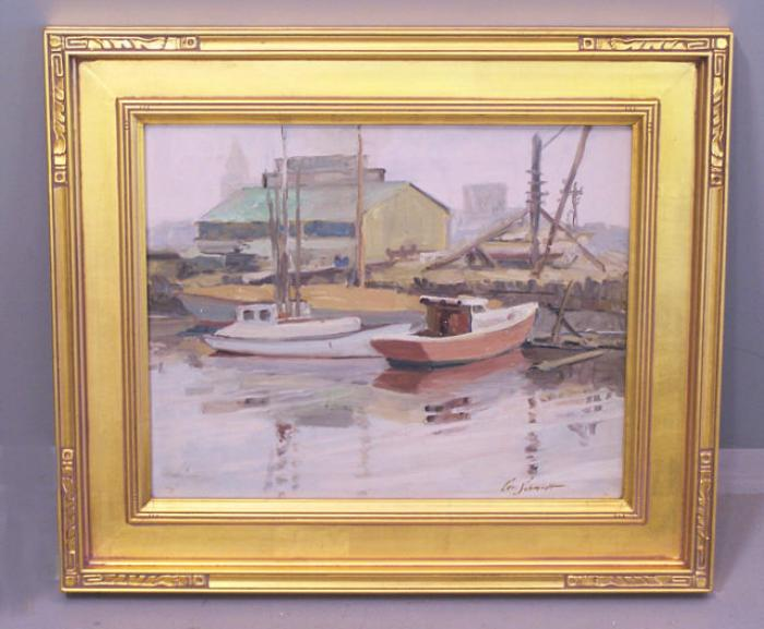 Carl Schmidt oil painting on canvas boats in a harbor titled Ahoy Day