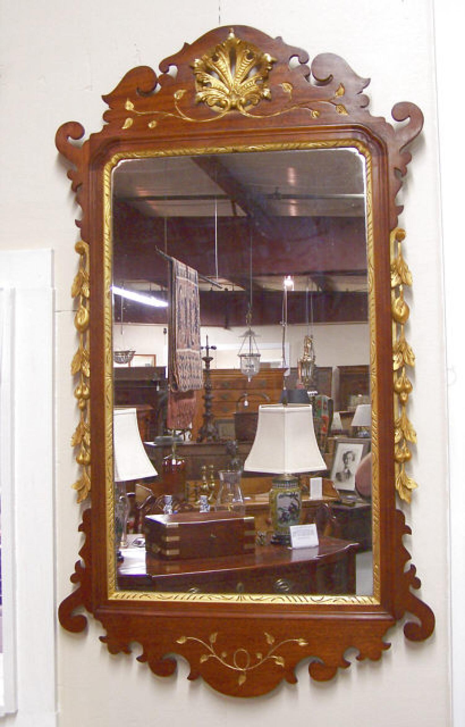 Harold Margolis mahogany Chippendale style mirror c1940