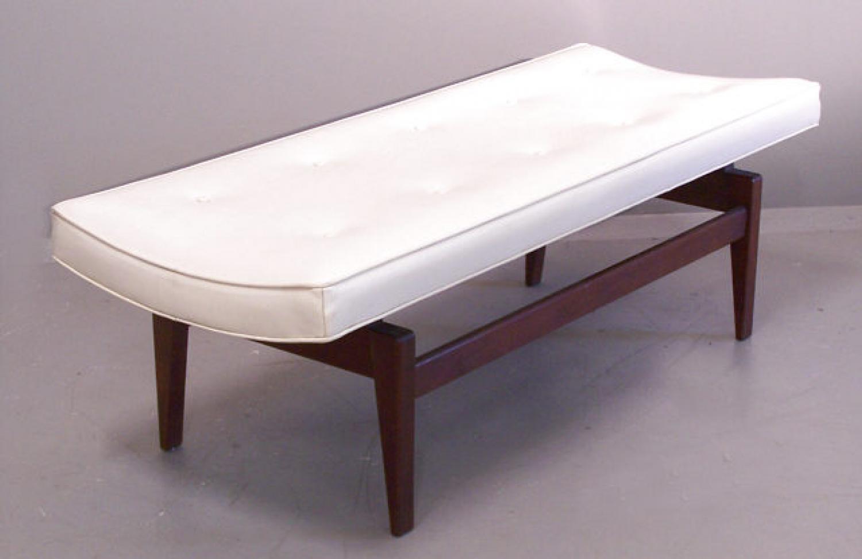 Jens Risom Modern upholstered teak window bench c1960