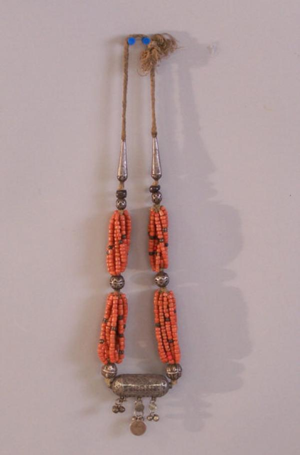 Antique Yemeni Coin Silver Coral And Agate Necklace