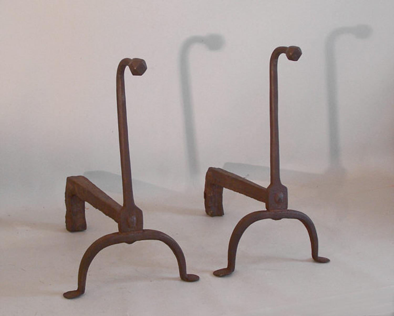 Period 18th century wrought iron gooseneck andirons c1750