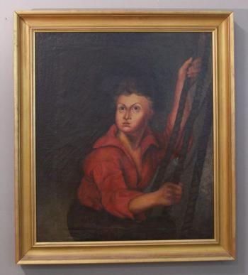 Image of Early English oil painting of a sailor holding ropes c1800