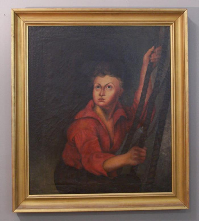Early English oil painting of a sailor holding ropes c1800