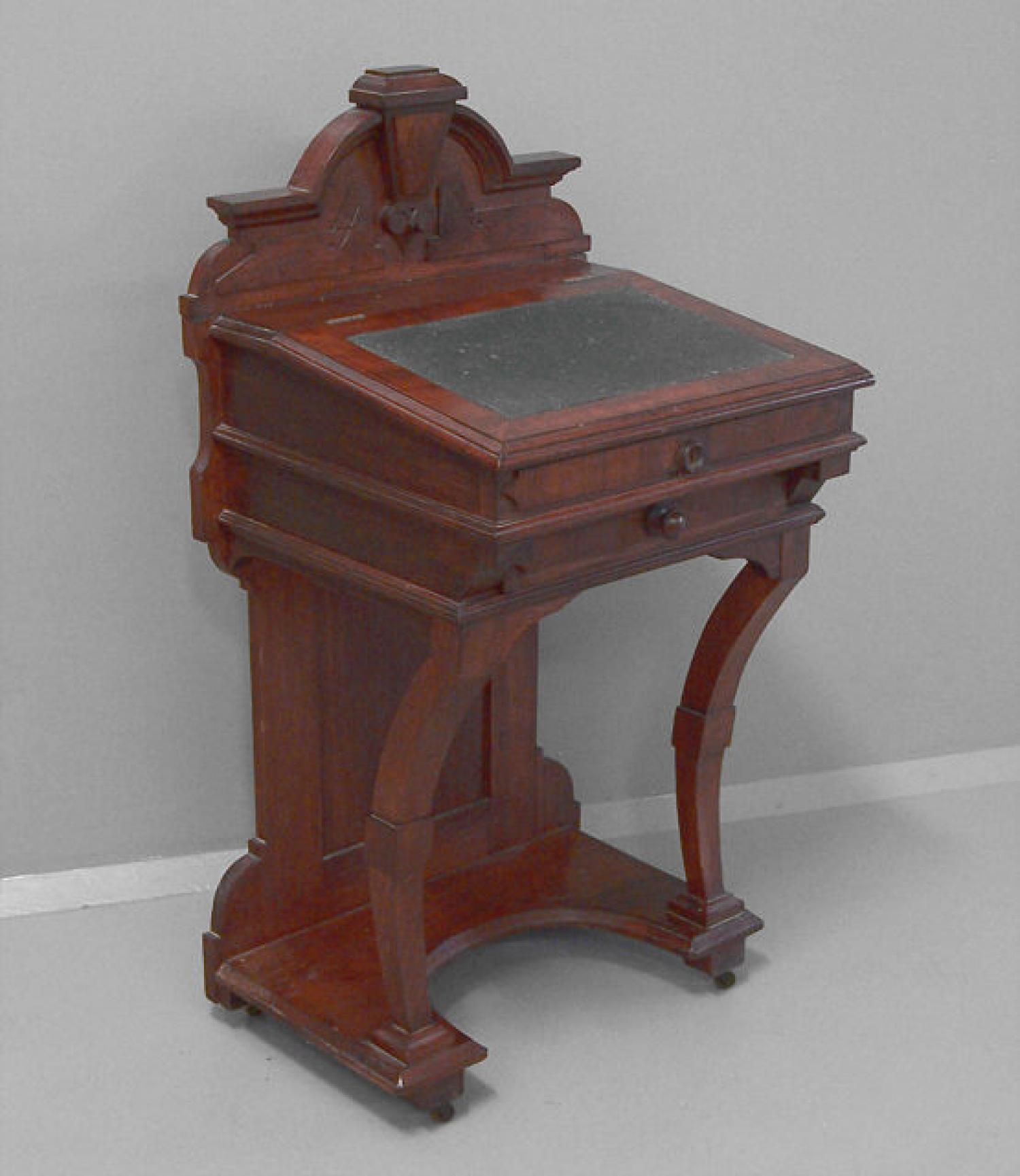 American Victorian black walnut Davenport desk c1880