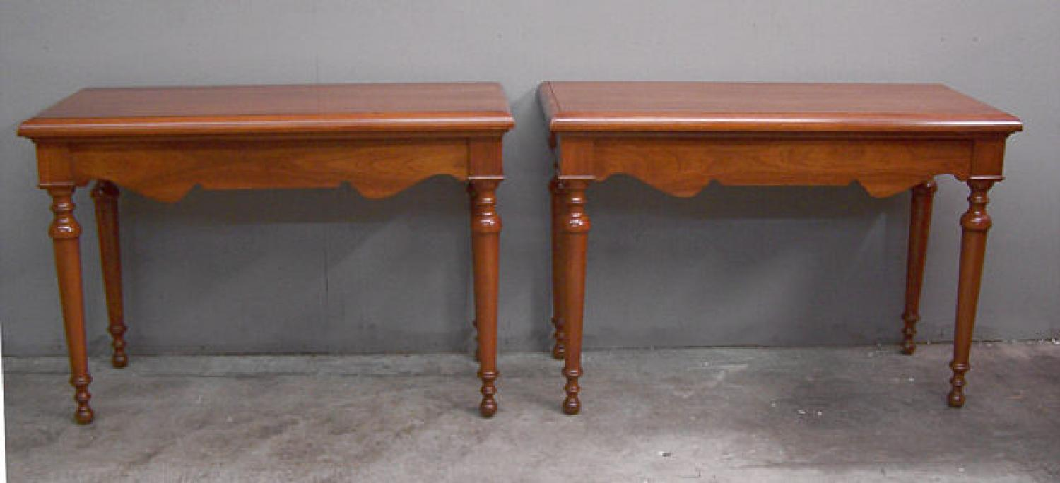 Pair custom made 20th century  walnut console tables