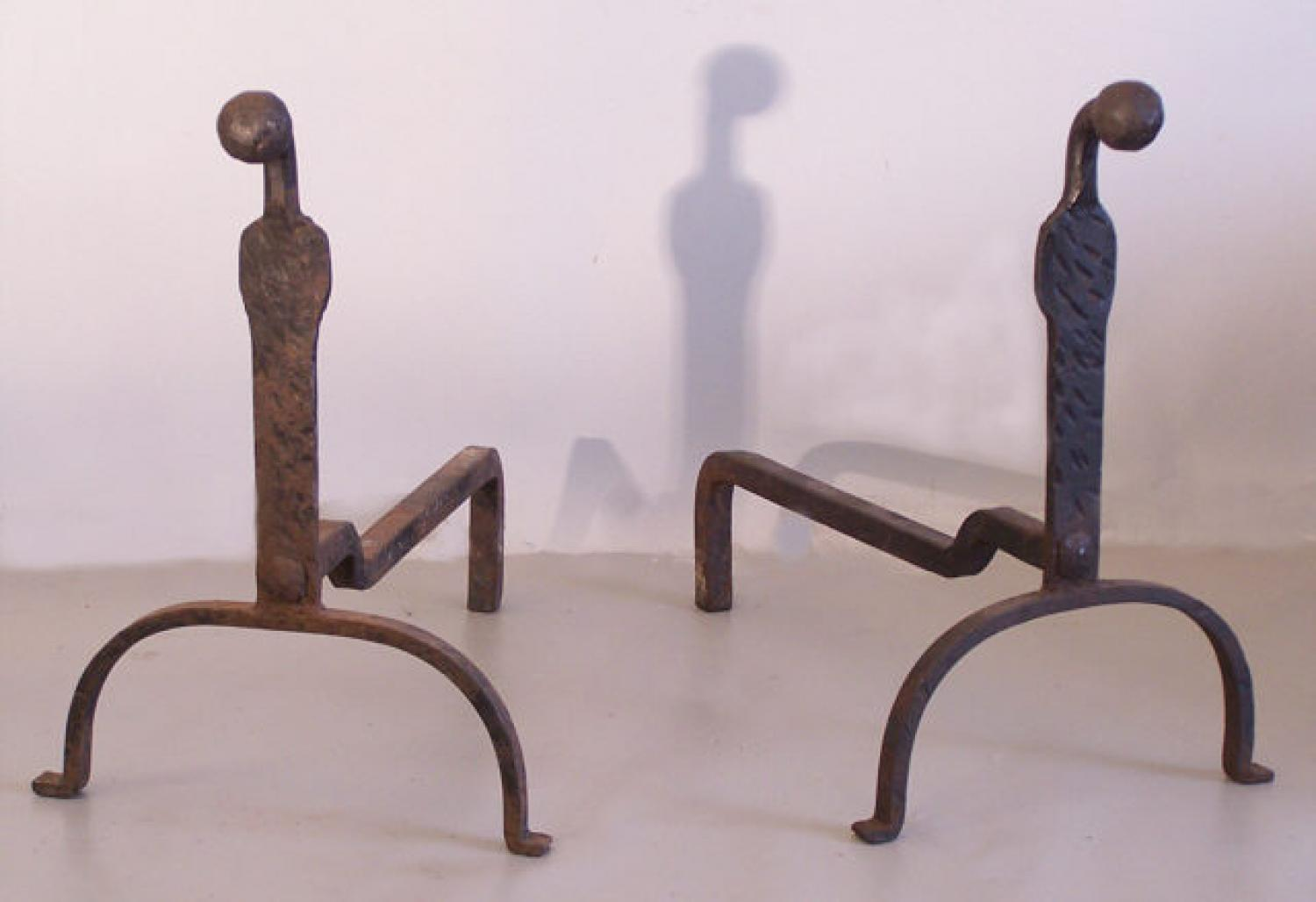 Pair hand wrought Yale University dorm gooseneck andirons c1900