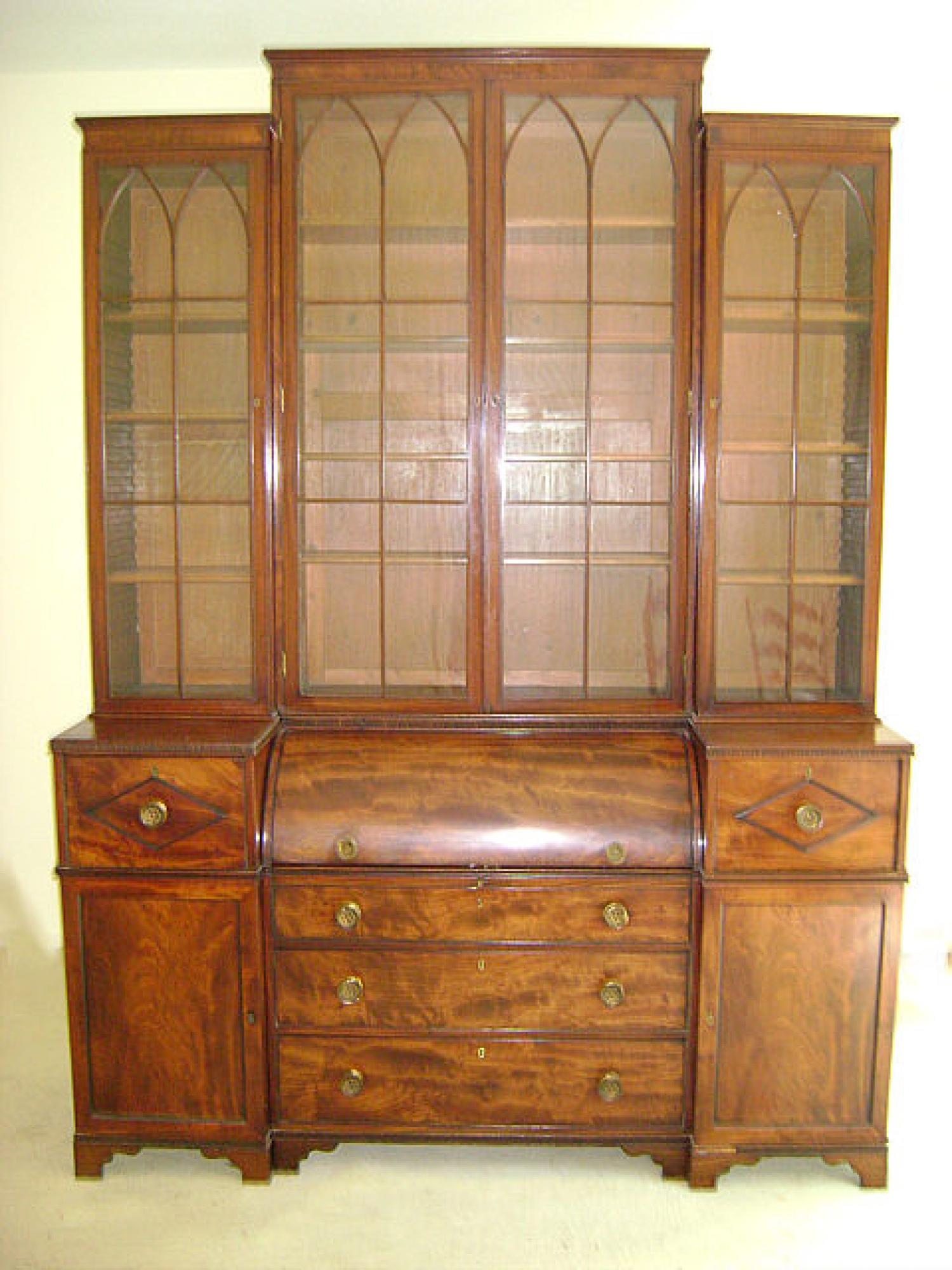English George III butlers secretary bookcase cylinder desk c1790
