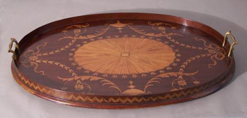 Centennial inlaid Adams style serving tray c1880
