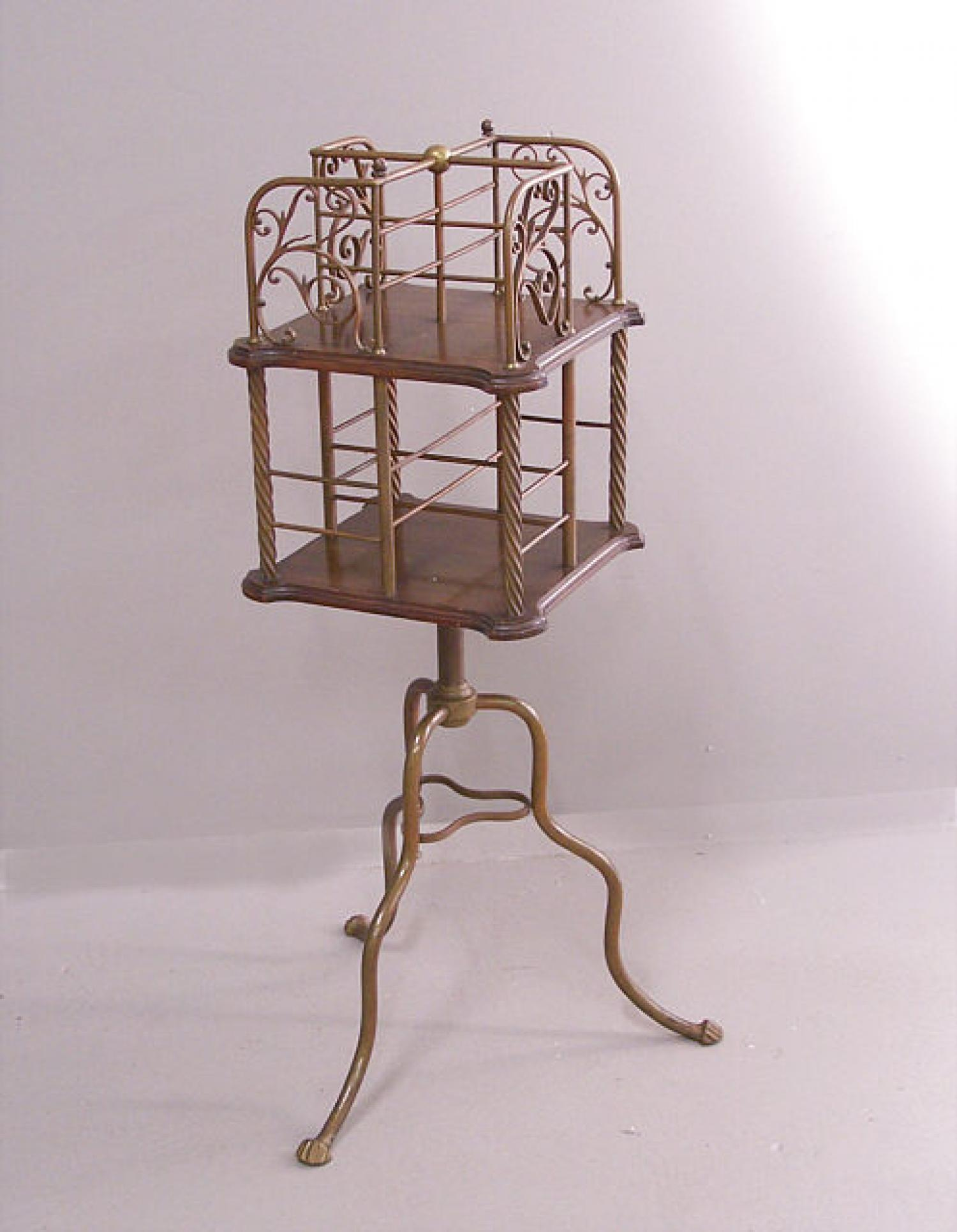 Victorian brass rotating bookcase c1880
