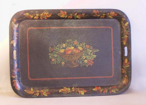 Early American hand painted toleware tin tray c1800 to 1830