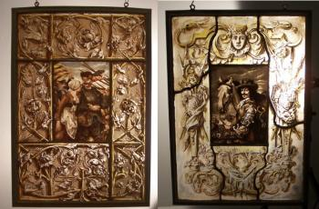 Image of Pair of German 19th c  painted glass panels signed G. Gammel