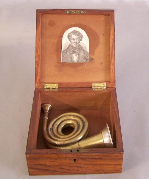 19th century brass Bicycle horn in original walnut box