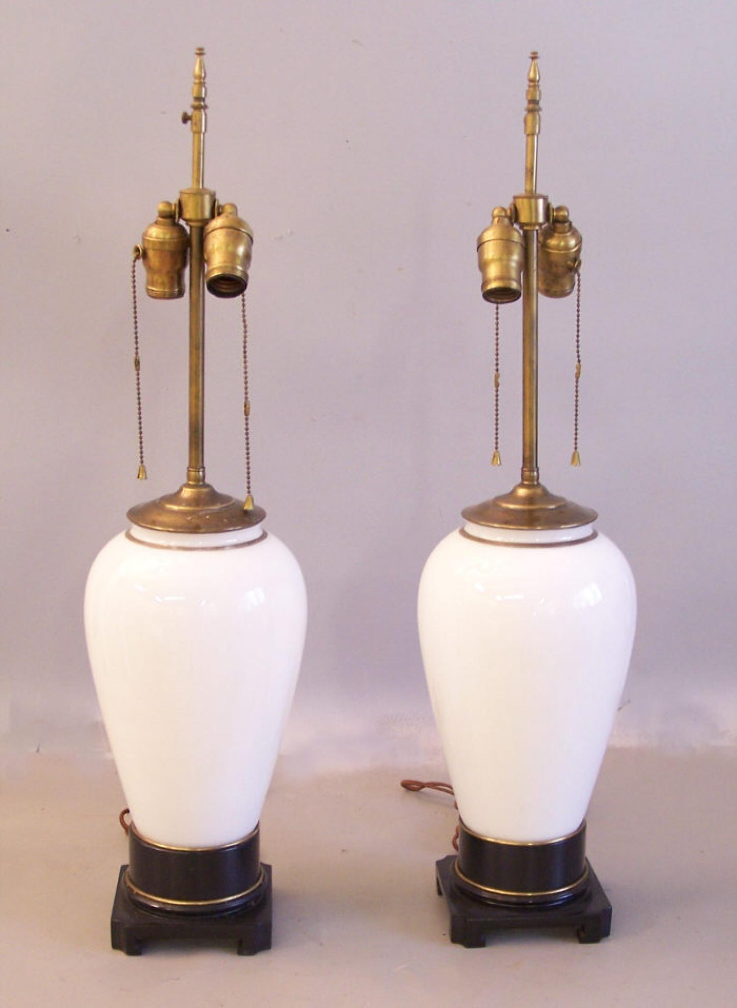Pair large French white and gold glass lamps
