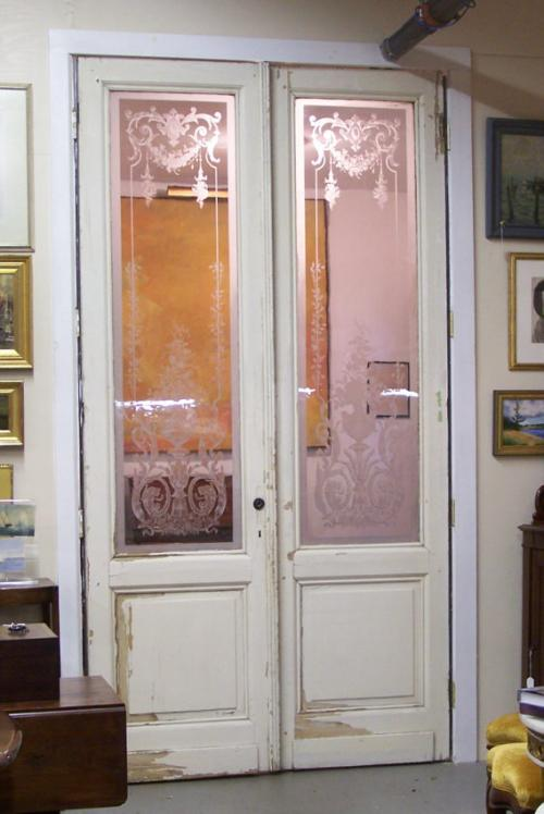 Price my item value of pair of french blown glass doors - Frosted glass french doors interior ...