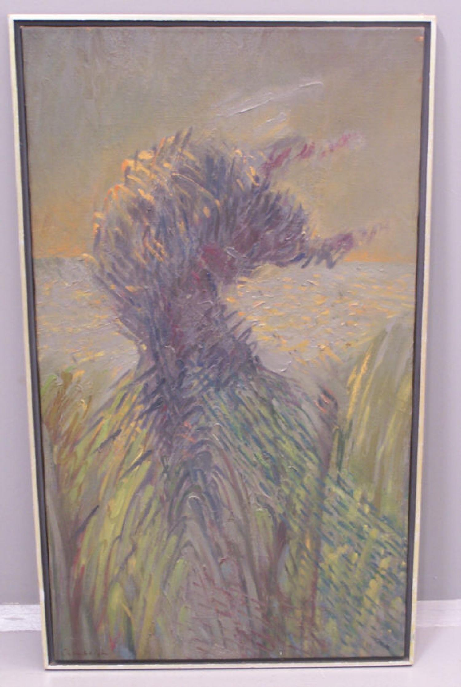 Elwyn Chamberlain oil on canvas abstract grassy painting