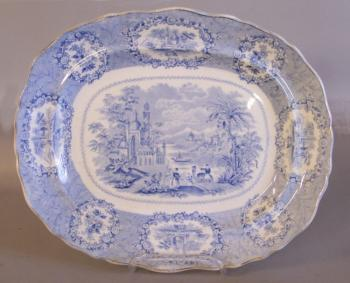 Image of Ridgeway Staffordshire platter light blue with Egyptian scenery