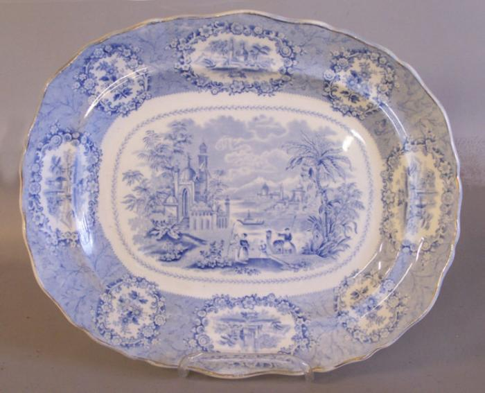 Ridgeway Staffordshire platter light blue with Egyptian scenery