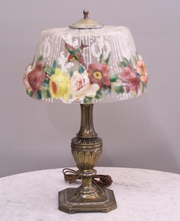 price my item value of pairpoint puffy lamp with hummingbirds c1920. Black Bedroom Furniture Sets. Home Design Ideas