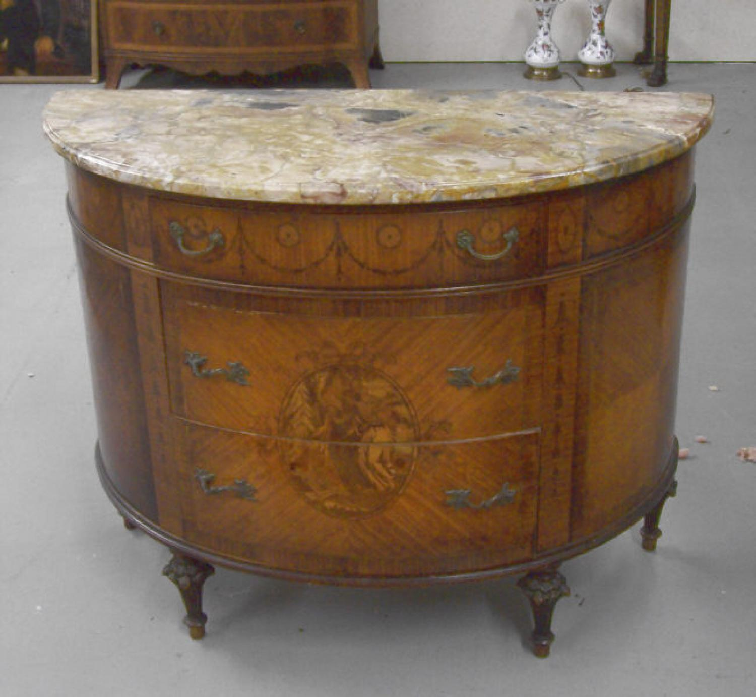French D Shaped Marble Top Server