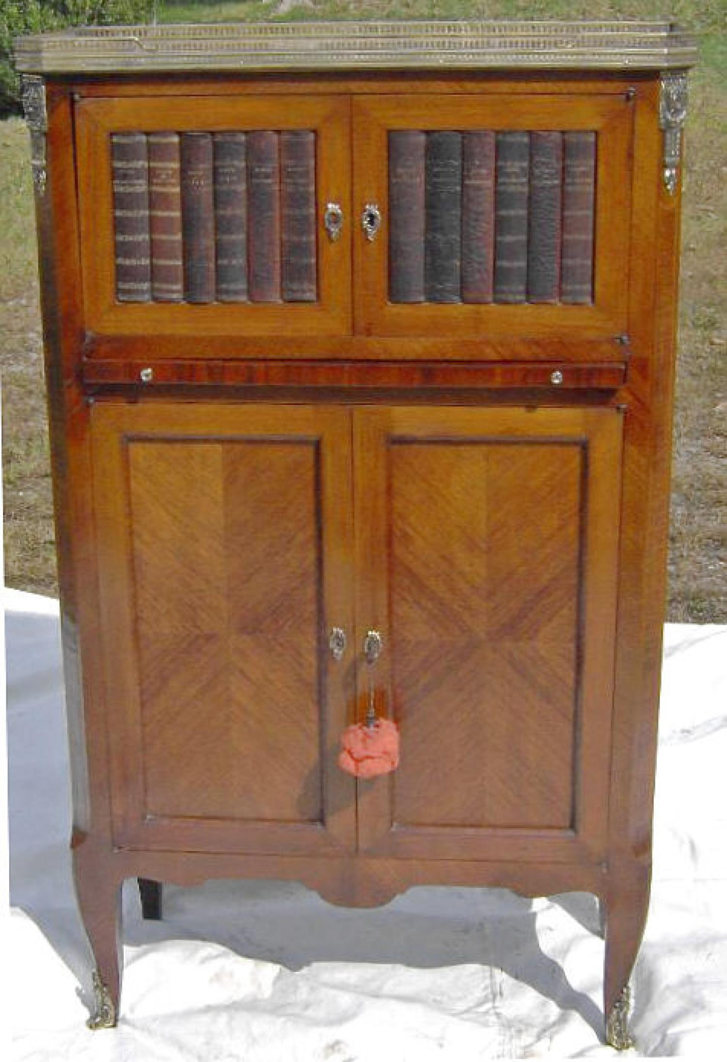 French Louis XV style parquetry writing cabinet c1900