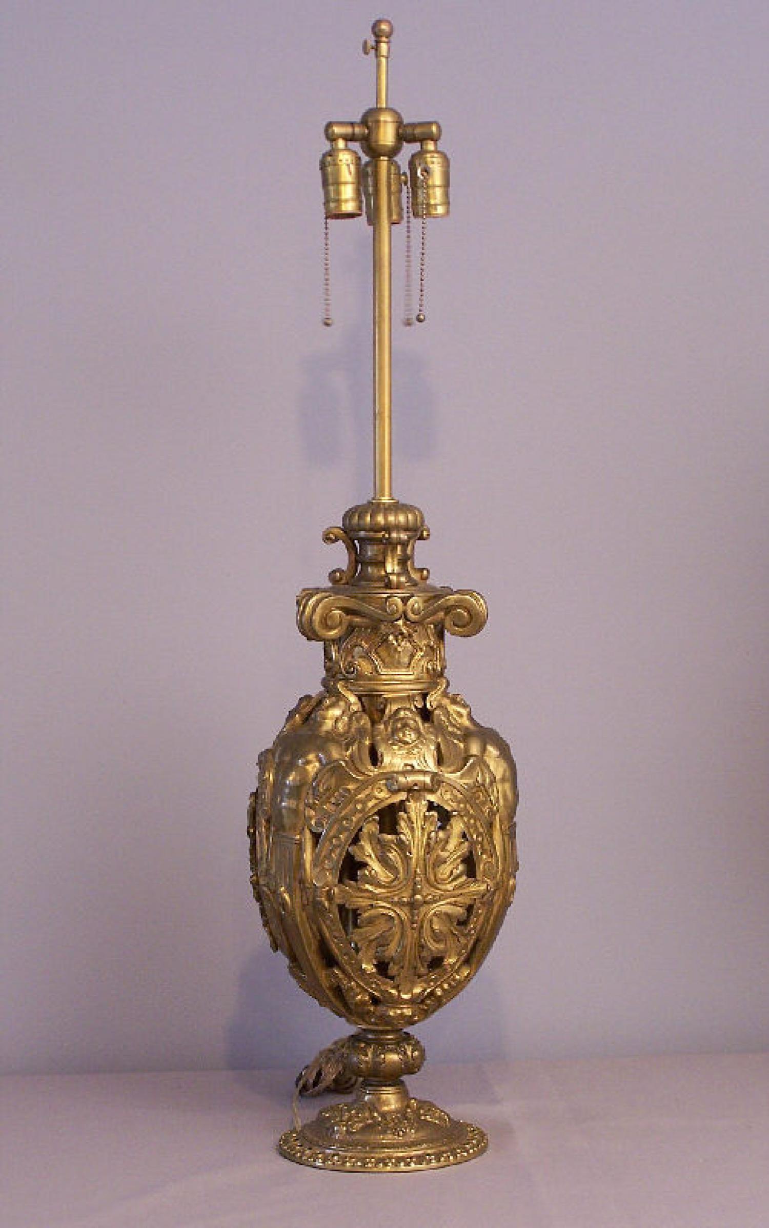 American Renaissance Revival cherub oil lamp 1880