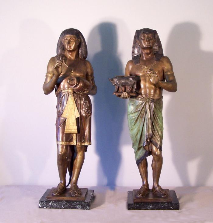 Egyptian Bronze Pharaoh or king figures Emile Louis Picault