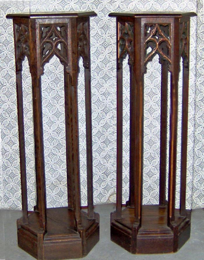 Gothic Revival Oak plant scuplture pedestals c1875