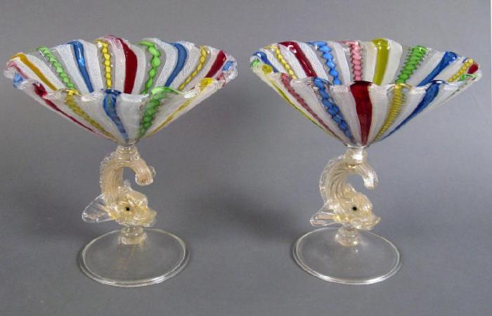 Venetian Glass hand blown Compotes c1910