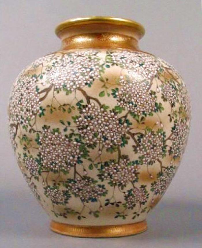 Museum quality Japanese porcelain satsuma vase