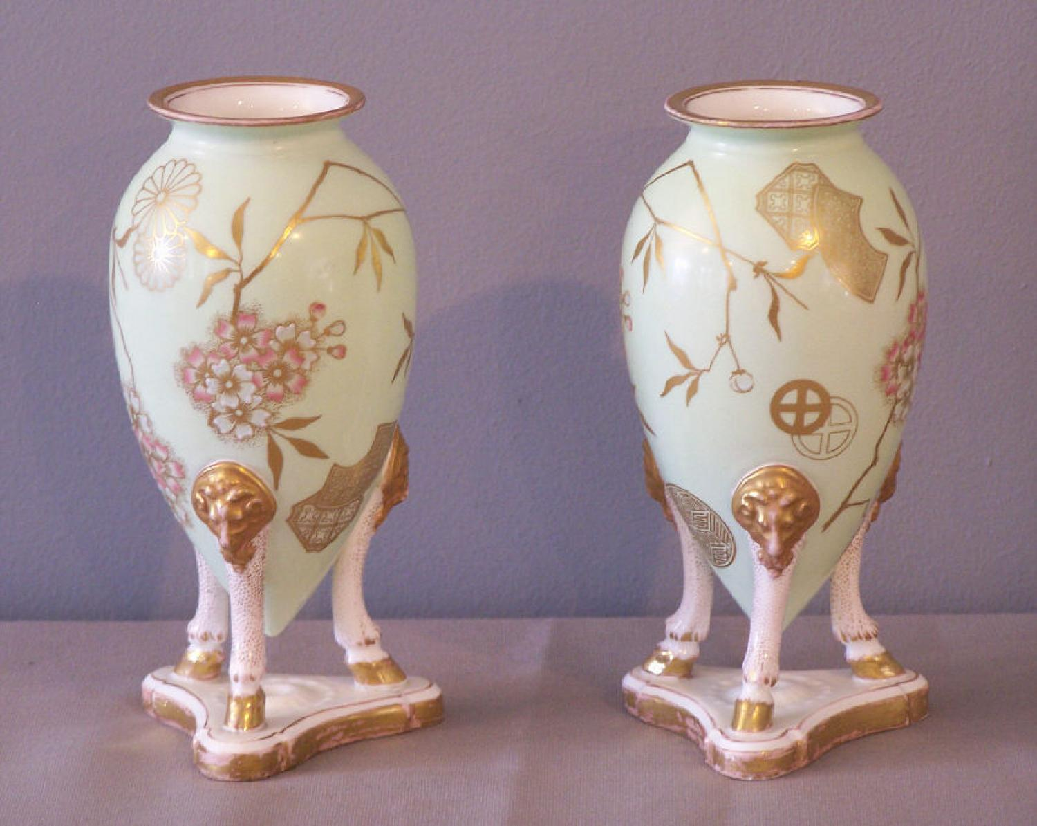 Pair Aesthetic Movement Staffordshire Vases c1870