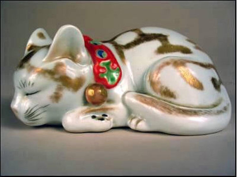 Japanese Kutani Porcelain Sleeping Cat c1890