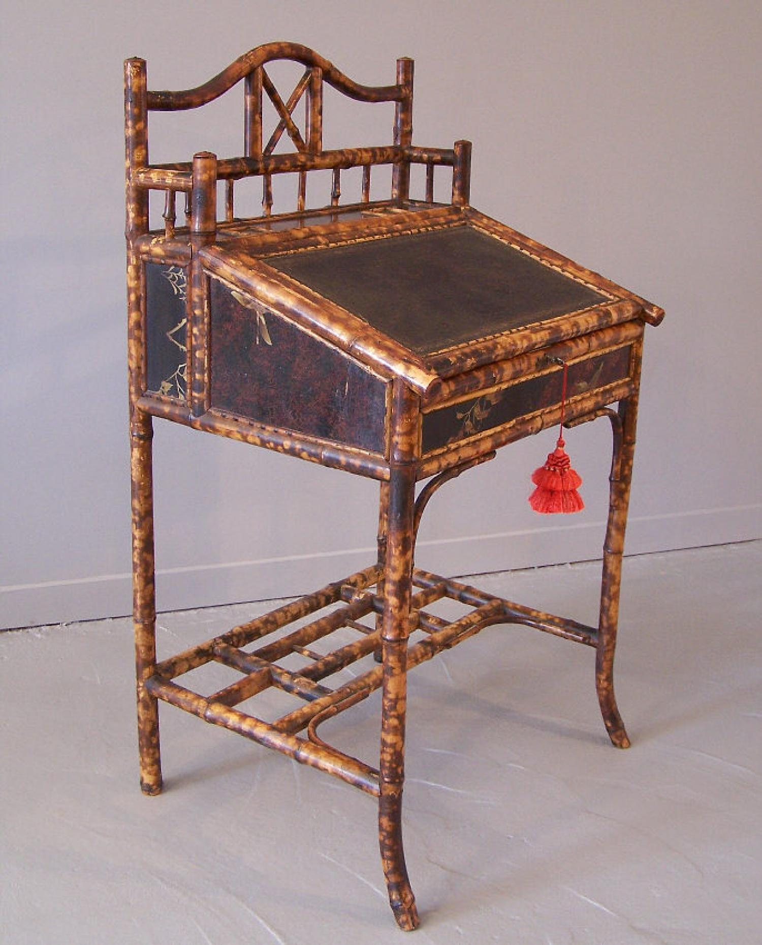 English Bamboo and Lacquer Standing Desk c1880